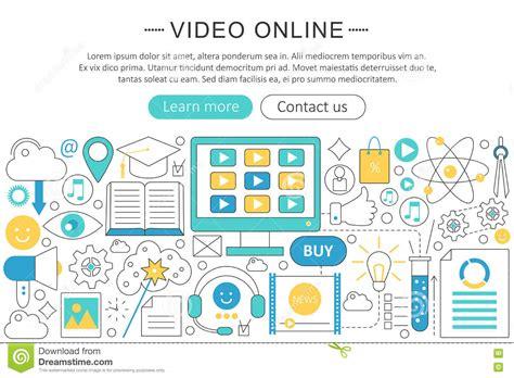 app design qualifications vector elegant thin line flat design video online