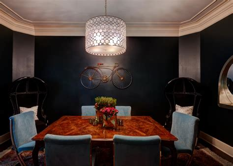 eclectic dining room featuring black walls black balloon