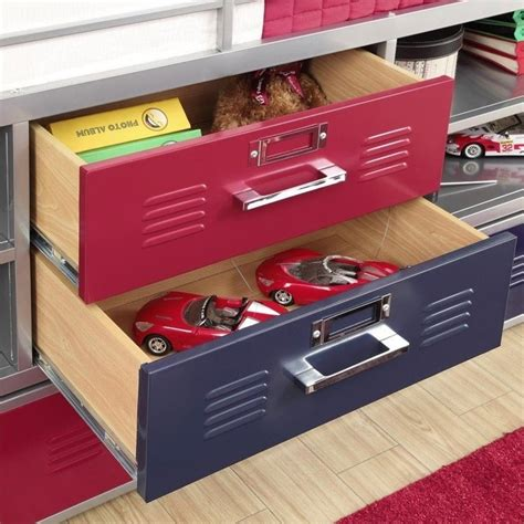 junior twin locker loft with shelves and storage red blue dhp junior metal twin loft locker storage bed in red and