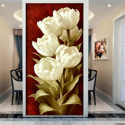Tas Set Tulip aliexpress buy 3d entrance hallway mural white tulips flower decorative painting murals