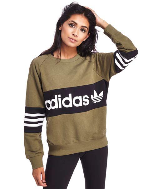 Branded Sweatshirt Green Army adidas originals crew sweatshirt jd sports