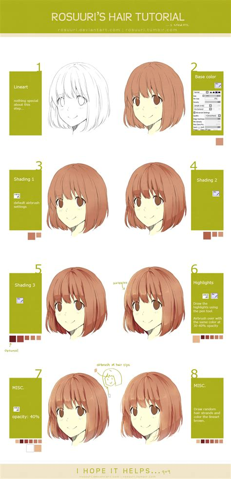 how to shade hair hair tutorial by rosuuri on deviantart