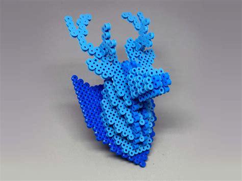perler bead 3d 3d deer perler bead wall decor by mizgvusdesigns