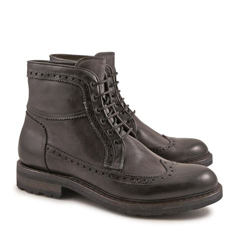 Handmade Italian Leather Boots - handmade s grey italian calf leather wingtip boots