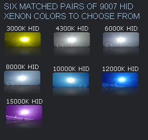 hid light colors aftermarket xenon headlights