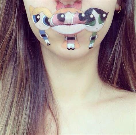 wandlen art deco maskenbildnerin transformiert ihre lippen in coole comic