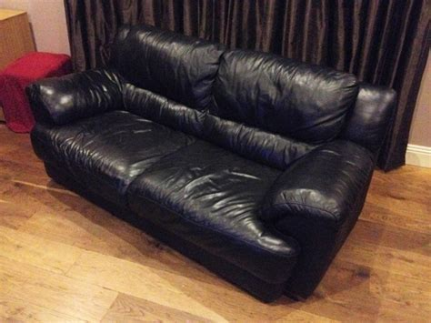 3 Seater Black Leather Sofa For Sale In Virginia Cavan 3 Seater Leather Sofa Sale