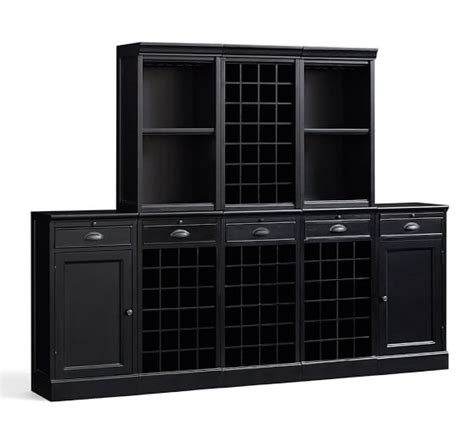 Modular Bar Cabinet Modular Bar Cabinet With 1 Wine Hutch 2 Open Hutch Pottery Barn