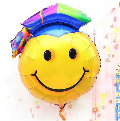 balon foil wisuda smile biru supplies