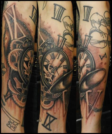 broken pocket watch tattoo broken pocket tattoos watches