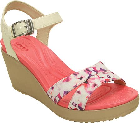 Crocs Womens Leigh Ii Ankle Graphic Wedge Angkel Angkle womens crocs leigh ii ankle graphic wedge sandal stucco gold free shipping exchanges