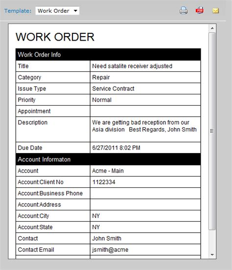 work order form template maintenance work order form template