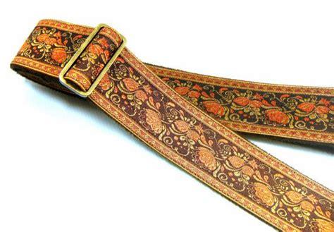 flower pattern guitar strap orange gold rose floral glass pea vine pattern guitar