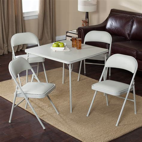 Folding Card Table And Chairs Meco Sudden Comfort Deluxe Padded Chair And Back 5 Card Table Set Grey