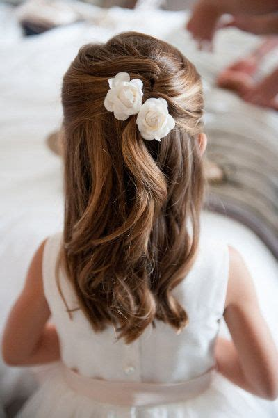flower girl hairstyles half up easy half up half down flower girl hairstyle with flower