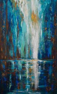 large paintings large abstract painting of waterfall