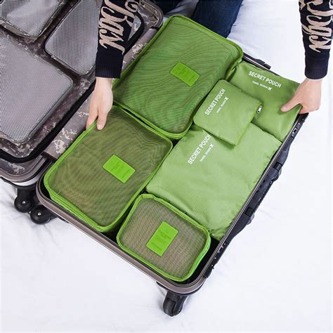 7 In 1 Travel Bag Organizer 6pcs waterproof clothes storage bags packing travel luggage organizer pouch zm ebay