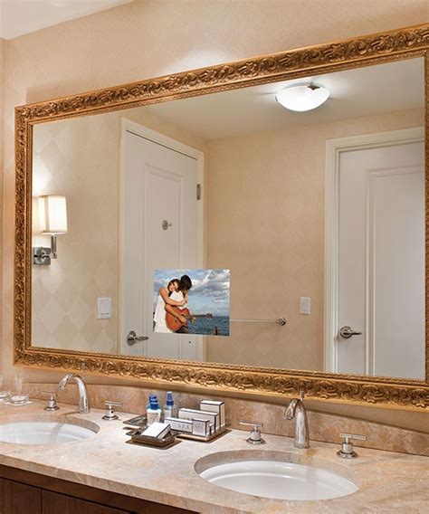 tv in a mirror bathroom stanford lighted mirror tv electric mirror 174