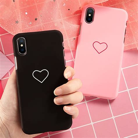 girl heart pattern phone case  iphone       case cute black pink ultra thin hard