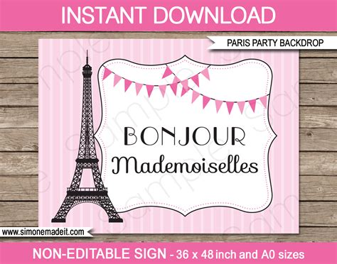 free printable paris party decorations printable paris party backdrops and signs new large sizes