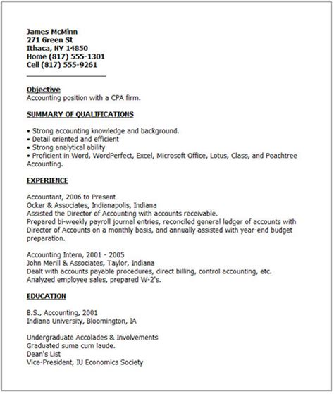 Sample Resume For Accounting by Bad Resume Example