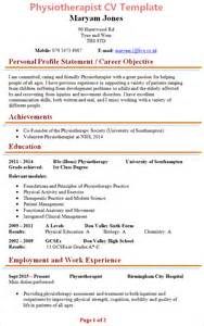 Physiotherapy Resume Sles Pdf Physiotherapist Cv Template 1