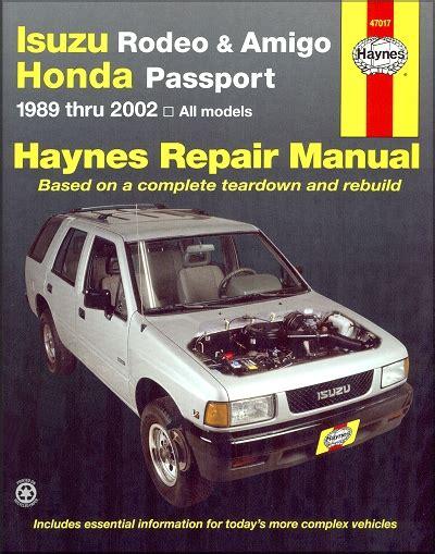hayes auto repair manual 1995 honda passport transmission control isuzu rodeo amigo honda passport repair manual 1989 2002 haynes