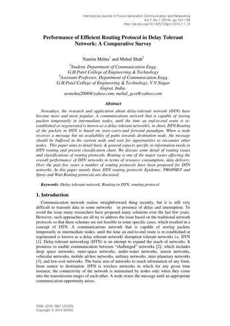 Delay Tolerant Network Research Paper by Performance Of Efficient Routing Protocol Pdf Available
