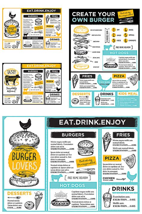 burger menu template restaurant burger menu modern vector set free