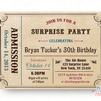 printable birthday invitations admit one best admit one tickets products on wanelo