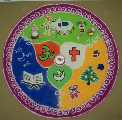 Rangoli Theme Unity | rangoli theme national integraton unity in diversity