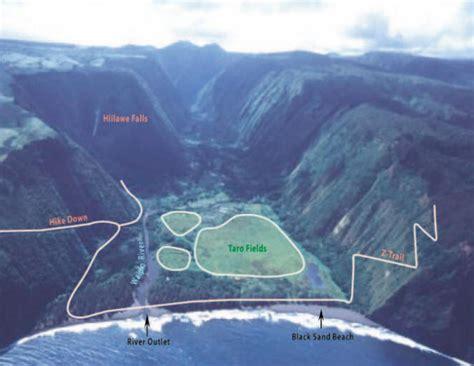 Black Sand Beach Big Island by Waipio Valley Map