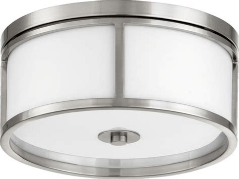 Three Light Satin Nickel White Glass Drum Shade Flush White Drum Ceiling Light