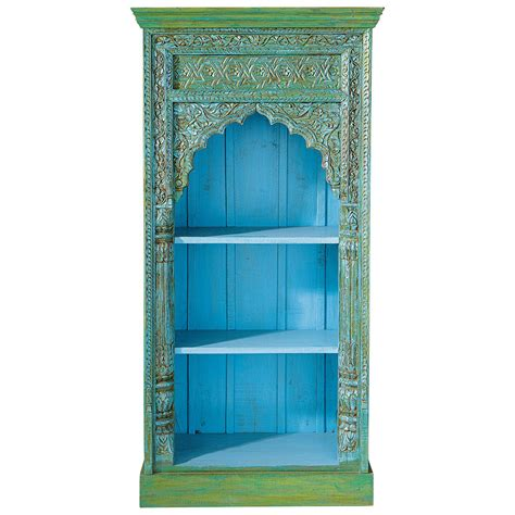 solid mango wood indian bookcase in green w 84cm madras