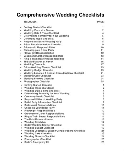 Wedding Ceremony Checklist Planner by Wedding Planner Checklist 12 Free Word Pdf Psd