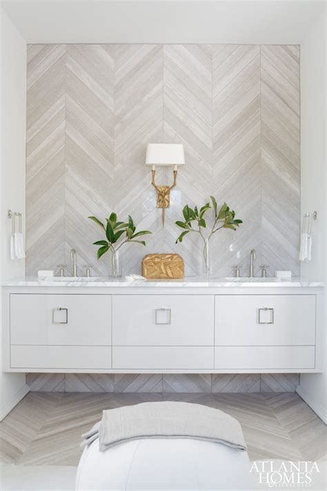 herringbone pattern accent wall herringbone accent wall contemporary bathroom