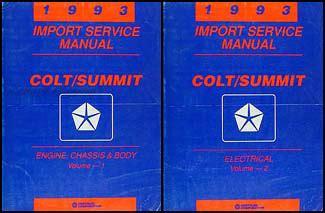 service manuals schematics 1993 dodge colt auto manual 1993 dodge plymouth colt eagle summit shop manual set