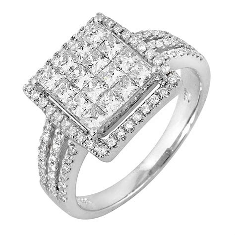 1 46ct tcw 14k white gold cluster engagement ring 4003544