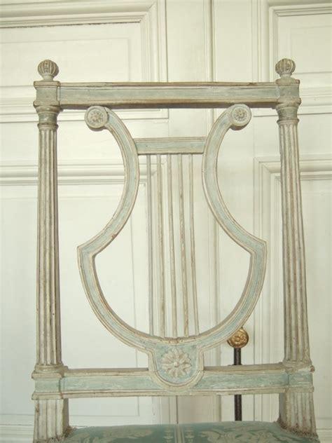 6 chaises lyre d 233 poque louis xvi soie bleue mod 232 le de jacob