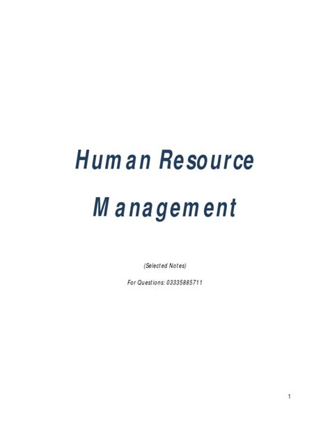 Mba Notes Of Human Resource Management by Human Resource Management Notes