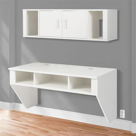 wall mounted computer desk bcp designer floating desk with hutch white finish wall