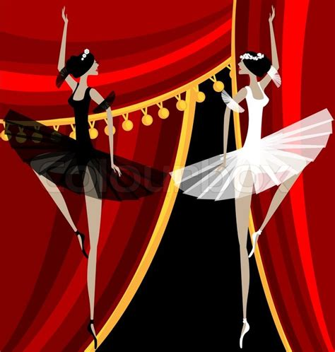 curtain dancers against red curtain dancing black and white ballet dancers