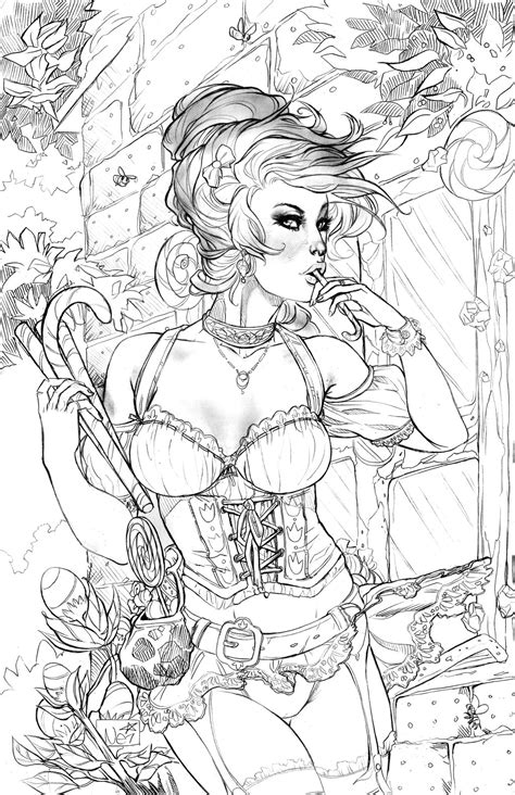 hair dreams coloring book for adults books parkers gretel high res by toolkitten on deviantart