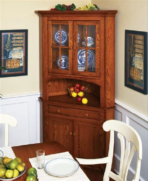 Dining Room Corner Furniture Amish Corner Hutches Handcrafted Solid Wood Corner Hutches By