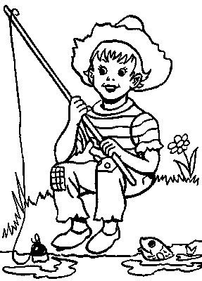 coloring page of little boy fishing fishing pole kids coloring pages gt gt disney coloring