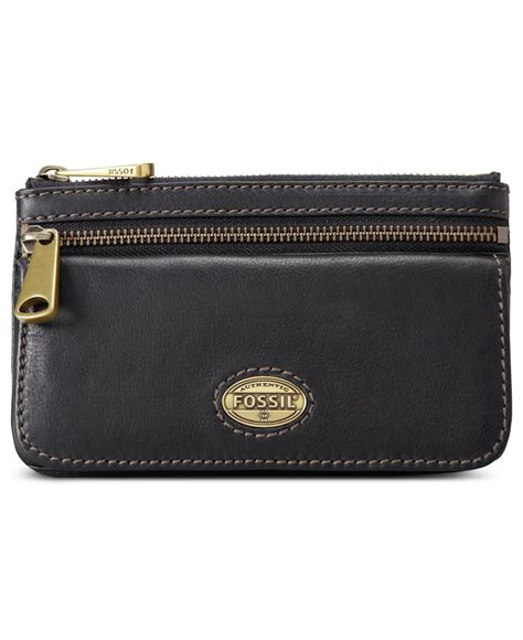 Fossil Wallet Explorer Black fossil explorer leather flap clutch wallet in black lyst