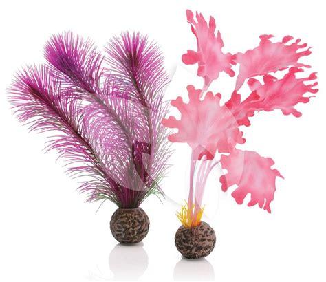 roze aquarium decoratie biorb zeewier set klein roze aquarium decoratie