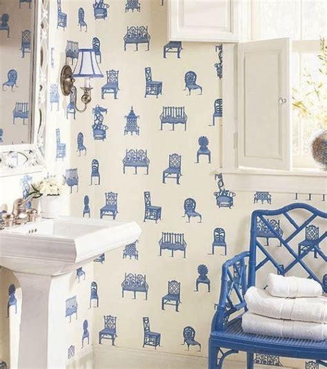 blue bathroom wallpaper blue and white chair wallpaper reno bathroom pinterest