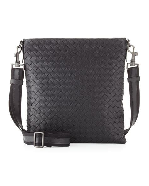 Bottega Veneta Woven Briefcase by Bottega Veneta Mens Woven Zip Top Messenger Bag In Black