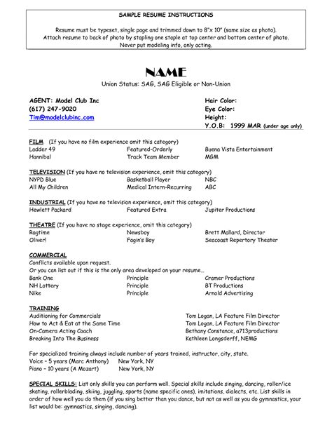 resumes models sle of acting resume template http www resumecareer